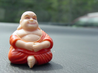 Buddha waiting in traffic